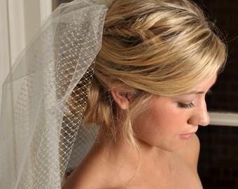 Bridal Veil - Short Veil with Crystals, Shoulder Length and Swarovski Crystals- Ivory or White