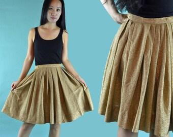 Vintage 50s Skirt / Vintage High Waist Skirt / Metallic Gold Lame Evening Skirt 1950s Pleated Full Skirt S / Small