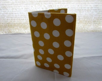 Passport Cover Case Holder - Yellow with White Polka Dots