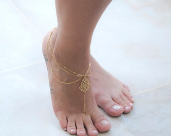 Barefoot Sandals, Gold Plated Foot Chain, Anklet, Body Jewelry, Body Chain, Beach Jewelry