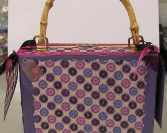 Purple Paisley Altered Wooden Purse