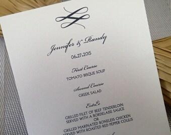 Custom Dinner (Set of50)/ Reception Menu/ModernWeding Menu