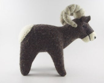 big horn sheep, waldorf animal, waldorf toy, stuffed animal, stuffed toy, wool toy, woodland animal, childs toy,