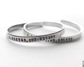 Personalized Coordinates Custom Silver Bracelet Bangle Handstamped Engraved - Numbers -f or couples BLKANDNOIR