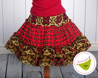 Red-Brown Skort Cute Girl Cotton Skirt Handmade Summer Casual