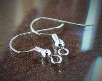 Silver Plated French Hook Earwires w Ball n Coil 20 Pcs Plated over Brass Earrings