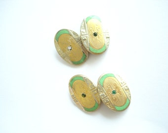 Vintage Jewelry Gold Green Tone Cuff Links