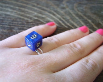 Miniature D6 dice ring adjustable ring dungeons and dragons dice jewelry pathfinder dice blue gold ring die polyhedral dice ring