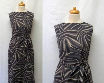 1960s Vintage Voile Dress & Sash Belt / Grey Abstract Print Dress and Belt
