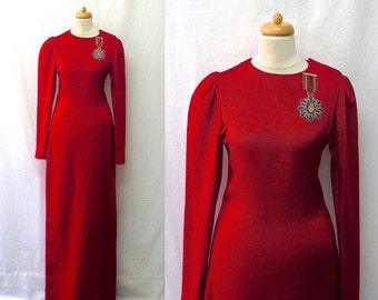 1980s Vintage Silk Faille Maxi Dress / Scarlet Red Medal Embellished Gown