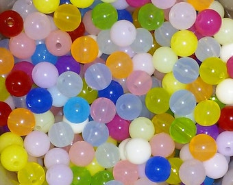 Clearance - 100 Acrylic Round Beads 8mm Mixed solid color-- ASSORTMENT of bright colors