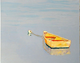 Lazy  Day, 24 x 20 x 1.5 inch original oil painting on stretched canvas. Yvonne Wagner. Bateau. Dinghy. Boat. Row Boat. Reflection. Clouds.