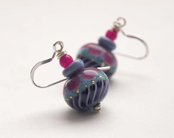 Blue Earrings, Lampwork Glass Earrings, Dangle Earrings, Glass Bead Earrings