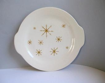 Vintage Starglow chop platter serving dish Midcentury star pattern Royal China