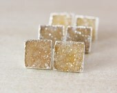 Warm Square Druzy Studs - Choose Your Druzy - 925 Sterling Silver
