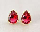 Teardrop Red Ruby Quartz Studs - July Birthstone