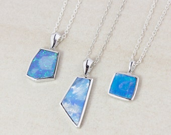 Blue Opal Doublet Necklace - Choose Your Opal - 925 Sterling Silver