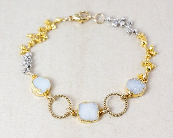 Gold Snow White Druzy & Pyrite Gemstone Bracelet