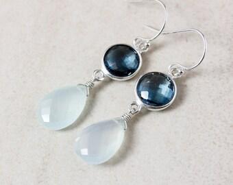 London Blue Topaz Dangle Earrings - Aqua Chalcedony