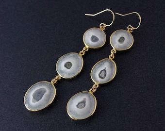 Gold Solar Quartz Earrings - Three Tier Earrings - Dangle Earrings