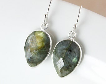 Silver Leaf Gemstone Earrings – Choose Your Gemstone