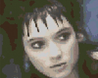 Winona Ryder portrait counted Cross Stitch Pattern Beetlejuice