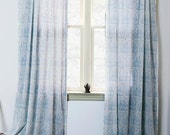 """SAMPLE SALE SINGLE Blue Toile Curtains cotton window curtain panels window treatment drapes 44""""w x 108""""- Hand Printed Natural dyes"""