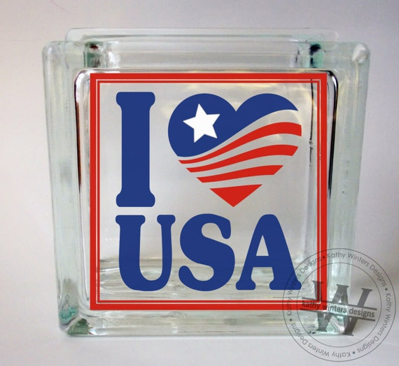 vinyl lettering glass block decal i love usa by With vinyl letters for glassware