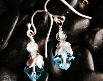 swarovski and silver dangle earring