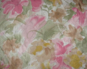 Vintage Square Silk Vera Neumann Scarf - Soft, Dreamy Pastel Floral - Like Watercolour Painting - Flower Art Scarf