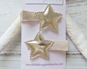 Gold Star Hair Clips, Pair of Gold Star Hair Clips, Girls Hair Clips, Star Hair Clips, Piggy Tail Clips, Girls Hair Accessory, Nautical