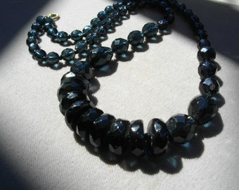 Art Deco Austrian Faceted Glass Necklace Rare Navy Blue Free Shipping To The Usa And Canada