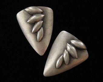 1980's Abstract Modern Earrings, Pewter Plated Brushed Copper, Post backs