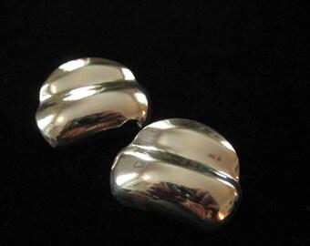 Sterling Silver Scalloped Earrings, Modernist Post Backs