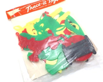 Trace it Toys Vintage 1960s Plastic Animaps with Stands in Original Package