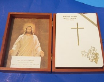 Cedar Bible Box Union Made Carpenters with Memorial Edition Bible for Local Steel Worker