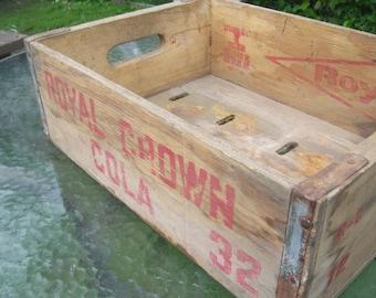 Vintage Retro Royal Crown Diet Rite Wooden Crate