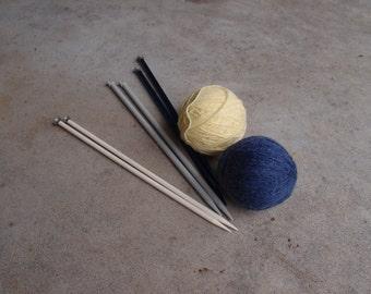 Vintage Knitting Needles Destash Lot Aluminum Plastic Size 11 13 15 Three Pair Stitchery Supplies Blue Cream Bernat