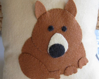 Cute, endangered Hairy-Nosed Wombat on a white squeezable pillow-original design, completely handsewn