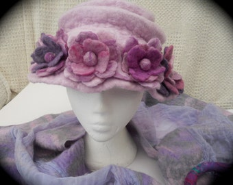 A rose hat - Hand Felted Edwardian style cloche hat decorated with rose blooms