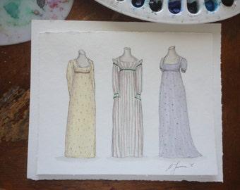 Regency Gowns Original Watercolor.  8x10 inches.  Jane Austen Art.