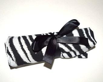 Large Crochet Hook Holder - Zebra Stripes 1 Black and White