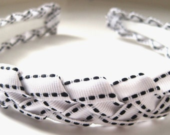 Black White Braided Ribbon Headband 1/2  Inch