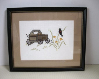 Vintage Framed Buckboard Cross Stitch