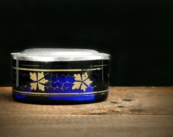 Antique Jewelry Dish, Antique Blue Glass, Rare, Early 1900s, Powder Box, Primitive Decor