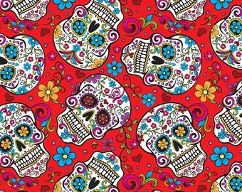 Skulls Sugar Day Of The Dead Flowers On Red Bakground .... Cotton Fabric....  Fat Quarter