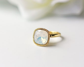 White Opal Crystal Gold Ring Swarovski Crystal Square Milky White Opalescent Adjustable Ring