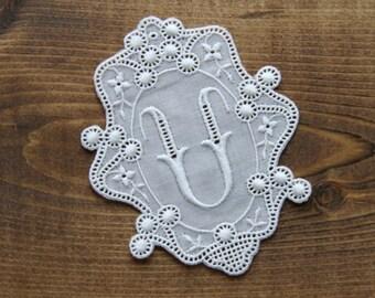 Vintage lace motif with initial U - antique lace trim motif applique label french craft supply