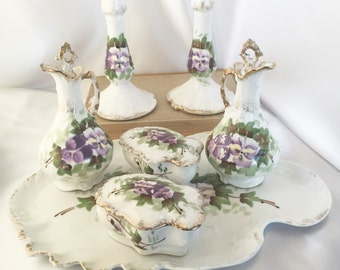 Antique Limoges France porcelain dresser vanity set with purple pansies