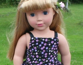 Purple Foral Dressy Dress with slip and hairclip for American girl